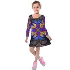 Fractal Flower Fantasy Floral Kids  Long Sleeve Velvet Dress by Wegoenart