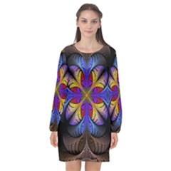Fractal Flower Fantasy Floral Long Sleeve Chiffon Shift Dress