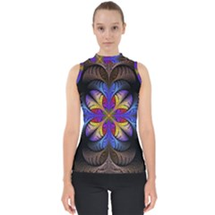 Fractal Flower Fantasy Floral Mock Neck Shell Top
