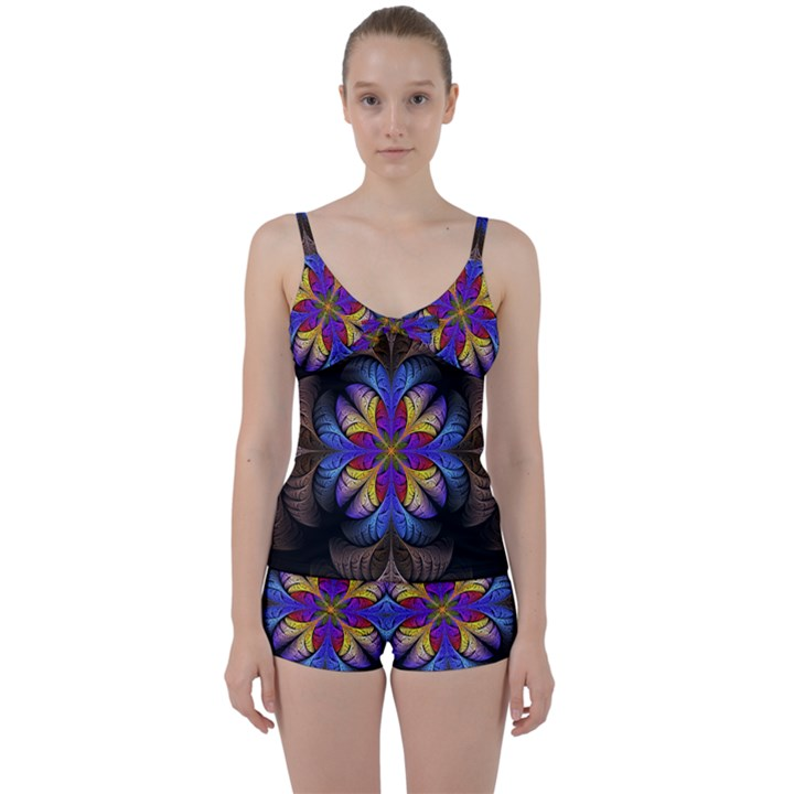 Fractal Flower Fantasy Floral Tie Front Two Piece Tankini