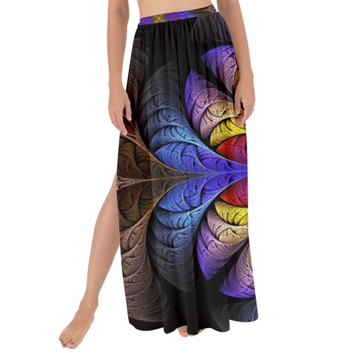 Fractal Flower Fantasy Floral Maxi Chiffon Tie-Up Sarong