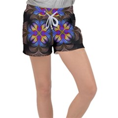 Fractal Flower Fantasy Floral Velour Lounge Shorts