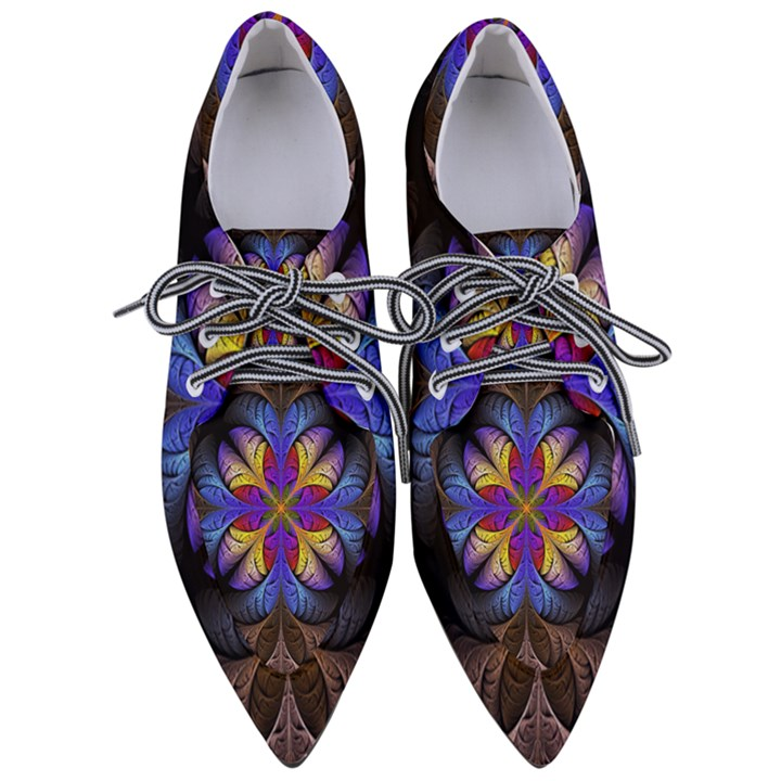 Fractal Flower Fantasy Floral Women s Pointed Oxford Shoes