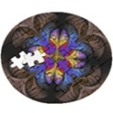 Fractal Flower Fantasy Floral Wooden Puzzle Round View3