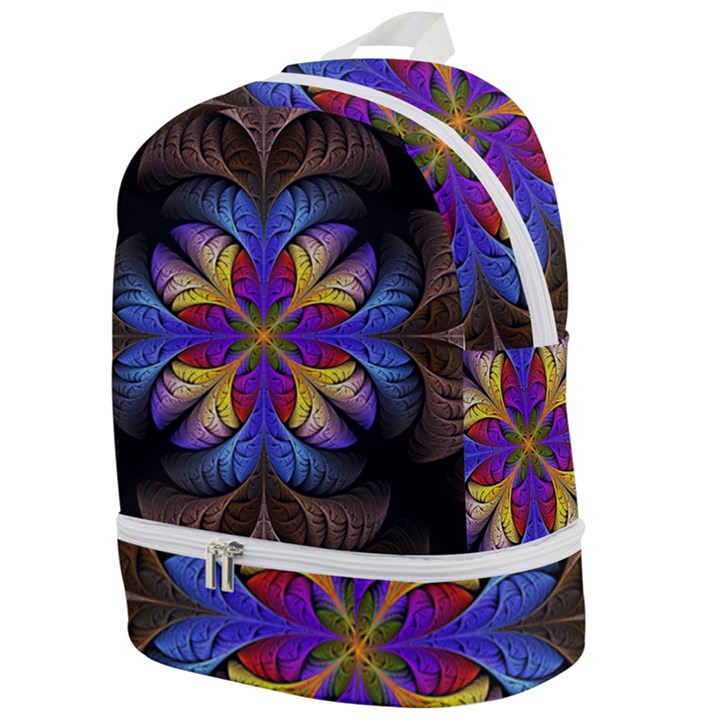 Fractal Flower Fantasy Floral Zip Bottom Backpack