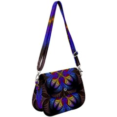 Fractal Flower Fantasy Floral Saddle Handbag