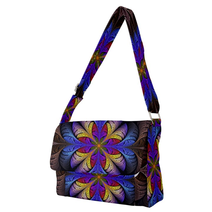 Fractal Flower Fantasy Floral Full Print Messenger Bag (M)