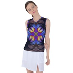 Fractal Flower Fantasy Floral Women s Sleeveless Sports Top by Wegoenart