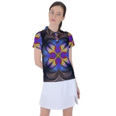 Fractal Flower Fantasy Floral Women s Polo Tee