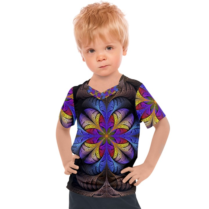 Fractal Flower Fantasy Floral Kids  Sports Tee