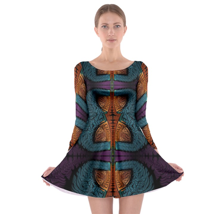 Art Abstract Fractal Pattern Long Sleeve Skater Dress