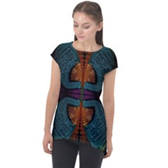 Art Abstract Fractal Pattern Cap Sleeve High Low Top