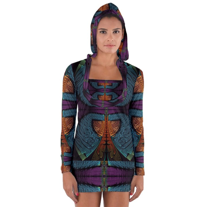 Art Abstract Fractal Pattern Long Sleeve Hooded T-shirt