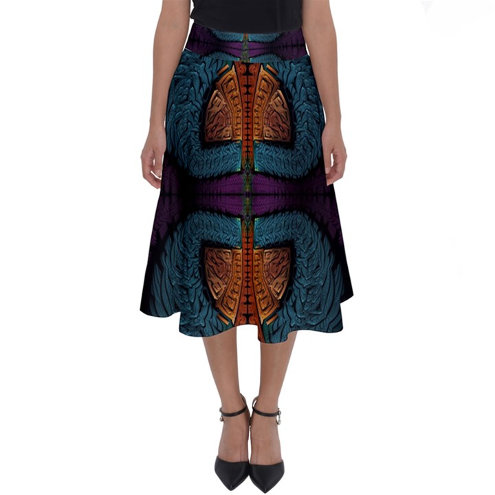 Art Abstract Fractal Pattern Perfect Length Midi Skirt