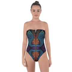 Art Abstract Fractal Pattern Tie Back One Piece Swimsuit