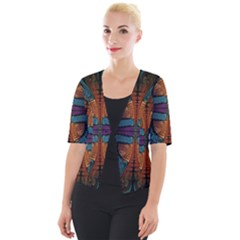 Art Abstract Fractal Pattern Cropped Button Cardigan