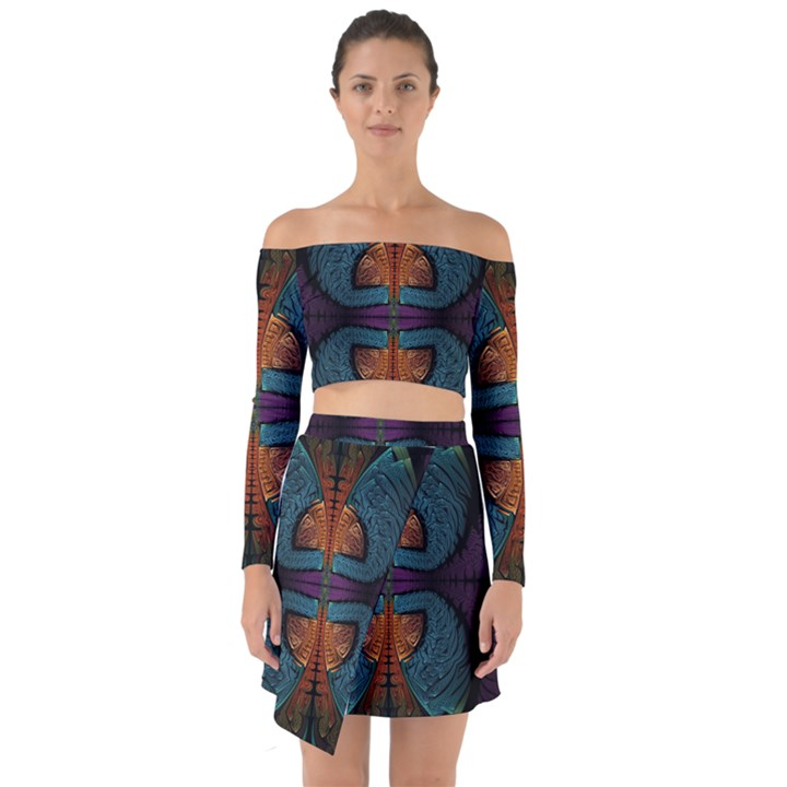 Art Abstract Fractal Pattern Off Shoulder Top with Skirt Set