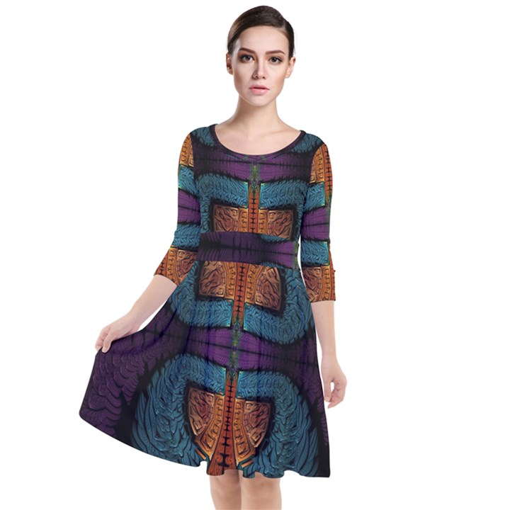 Art Abstract Fractal Pattern Quarter Sleeve Waist Band Dress
