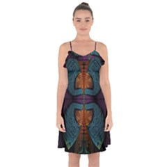 Art Abstract Fractal Pattern Ruffle Detail Chiffon Dress