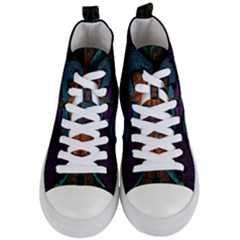 Art Abstract Fractal Pattern Women s Mid Top Canvas Sneakers