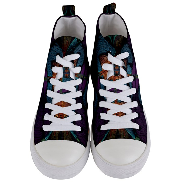 Art Abstract Fractal Pattern Women s Mid-Top Canvas Sneakers