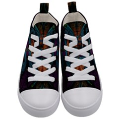 Art Abstract Fractal Pattern Kids  Mid Top Canvas Sneakers