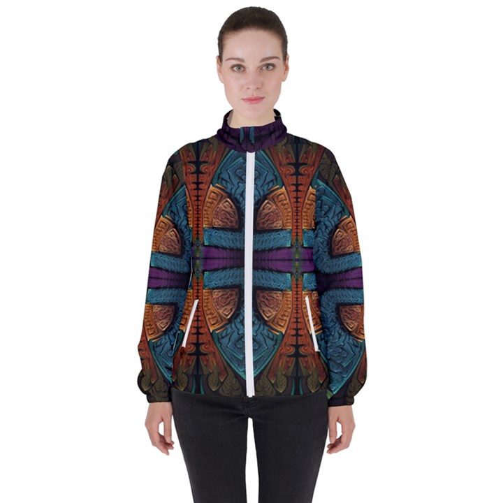 Art Abstract Fractal Pattern Women s High Neck Windbreaker