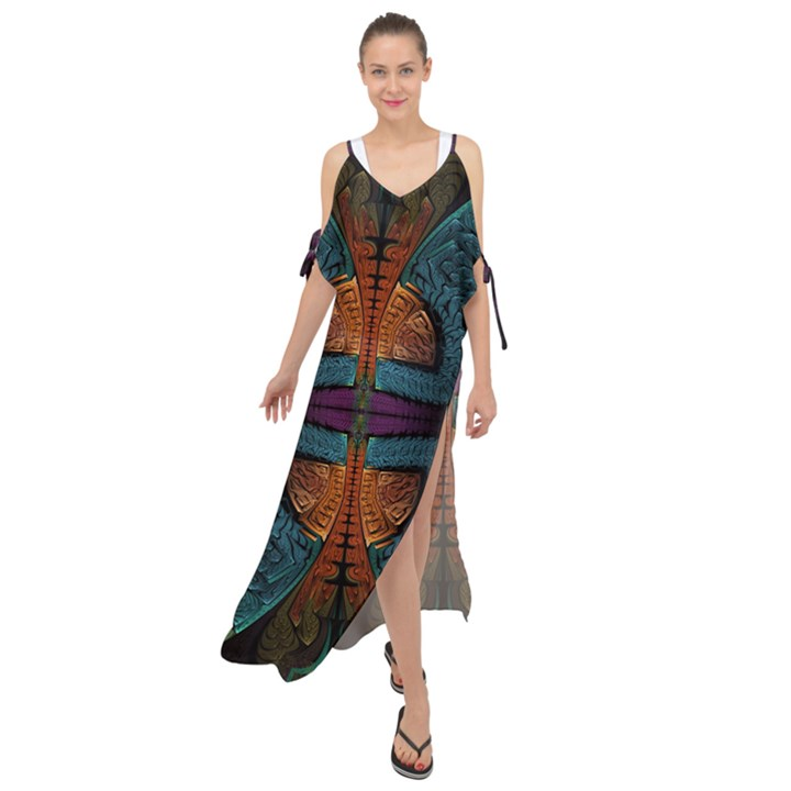 Art Abstract Fractal Pattern Maxi Chiffon Cover Up Dress