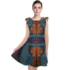 Art Abstract Fractal Pattern Tie Up Tunic Dress