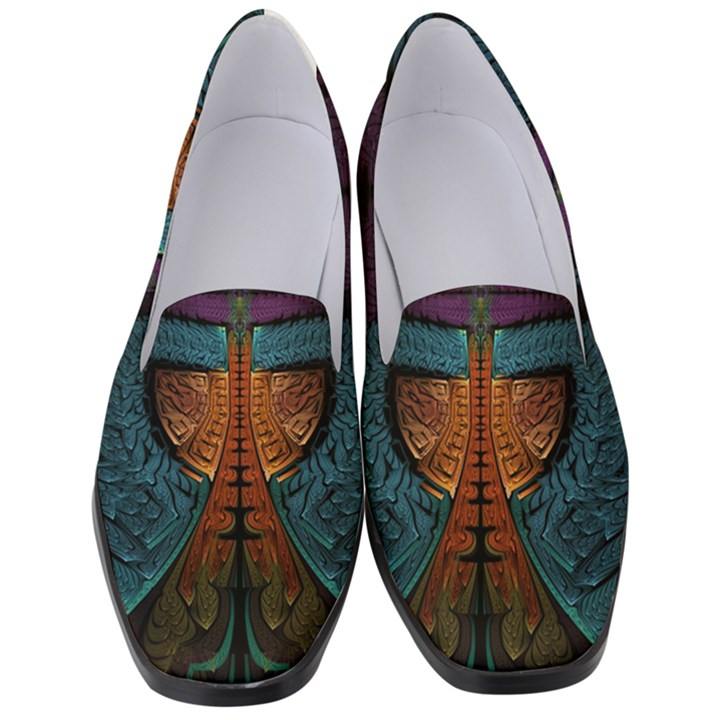 Art Abstract Fractal Pattern Women s Classic Loafer Heels