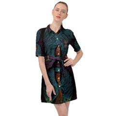 Art Abstract Fractal Pattern Belted Shirt Dress