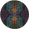 Art Abstract Fractal Pattern Wooden Puzzle Round View1