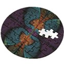 Art Abstract Fractal Pattern Wooden Puzzle Round View2