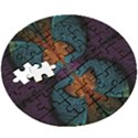Art Abstract Fractal Pattern Wooden Puzzle Round View3