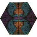 Art Abstract Fractal Pattern Wooden Puzzle Hexagon View1