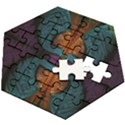 Art Abstract Fractal Pattern Wooden Puzzle Hexagon View2