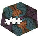 Art Abstract Fractal Pattern Wooden Puzzle Hexagon View3
