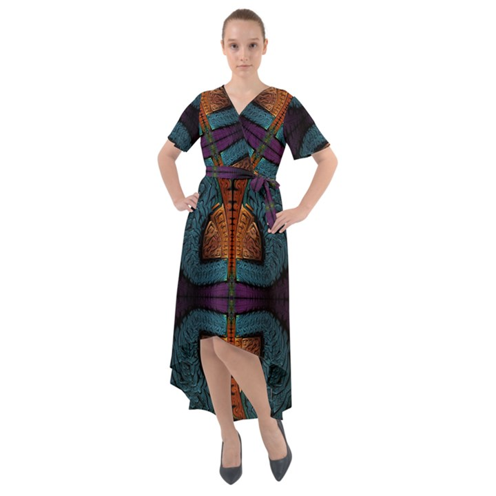Art Abstract Fractal Pattern Front Wrap High Low Dress