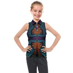 Art Abstract Fractal Pattern Kids  Sleeveless Polo Tee