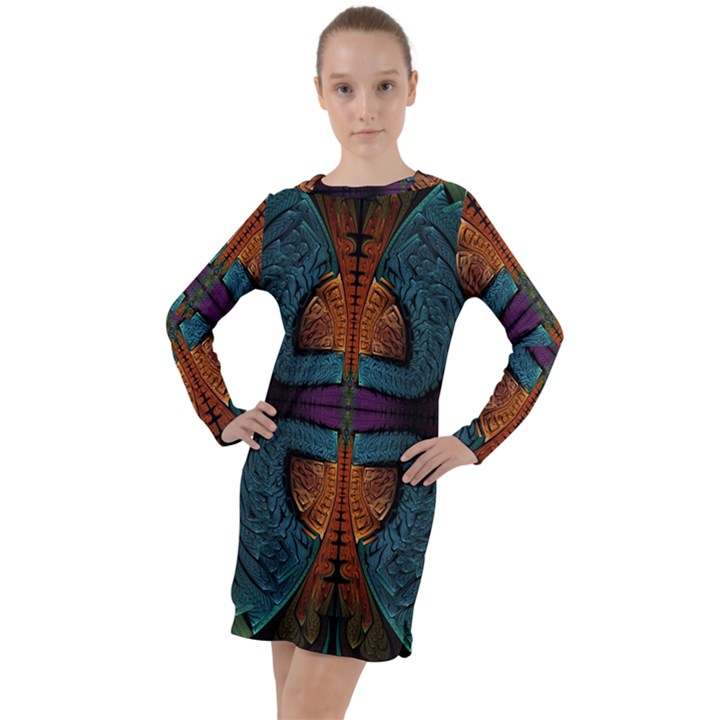 Art Abstract Fractal Pattern Long Sleeve Hoodie Dress
