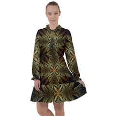 Fractal Art Abstract Pattern All Frills Chiffon Dress