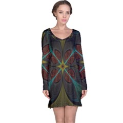 Fractal Art Abstract Pattern Long Sleeve Nightdress by Wegoenart