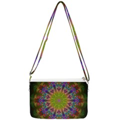 Fractal Abstract Background Pattern Double Gusset Crossbody Bag