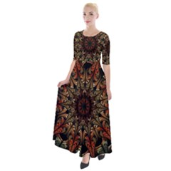 Art Abstract Fractal Pattern Half Sleeves Maxi Dress