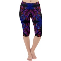 Ornament Decorative Floral Design Lightweight Velour Cropped Yoga Leggings