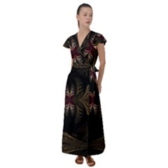Fractal Abstract Design Mystical Flutter Sleeve Maxi Dress