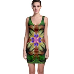 Fractal Abstract Flower Floral Bodycon Dress