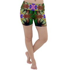 Fractal Abstract Flower Floral Lightweight Velour Yoga Shorts