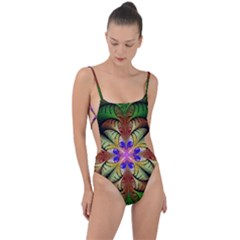 Fractal Abstract Flower Floral Tie Strap One Piece Swimsuit