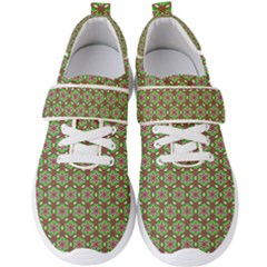 Background Green Ornamental Pattern Men s Velcro Strap Shoes